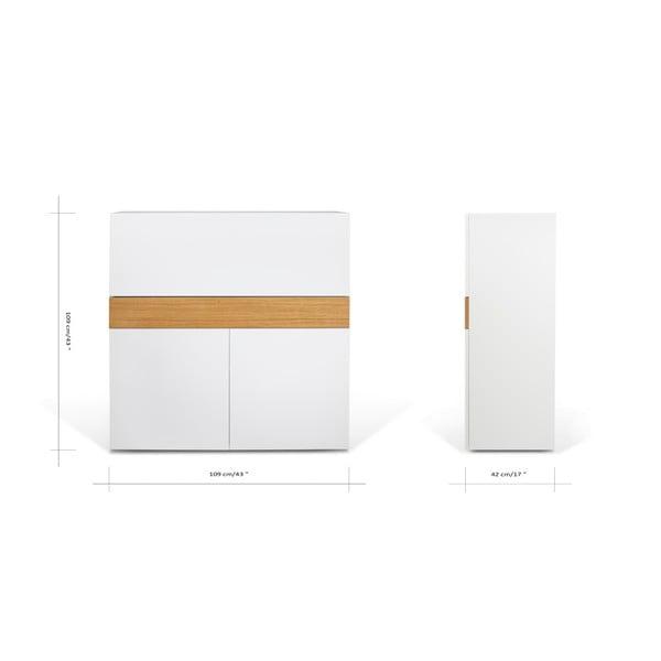 Sekretarzyk Focus White/Oak, 110x42x109 cm