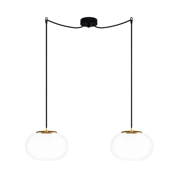 Podwójna szklana lampa wisząca ze złotą oprawką Sotto Luce DOSEI