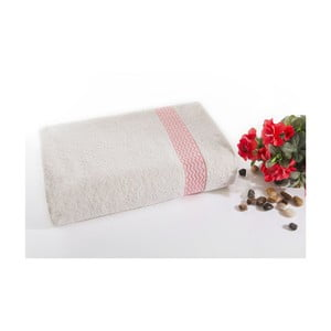 Różowo-biały ręcznik kąpielowy z bawełny Ladik Ella, 70x140 cm