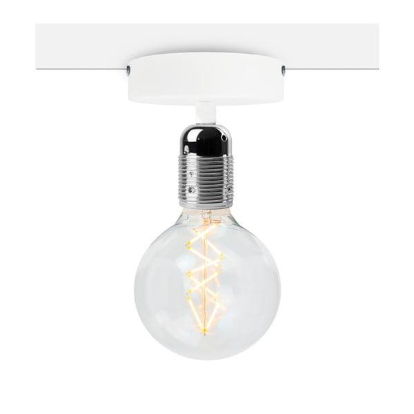 Biała lampa sufitowa z oprawą żarówki w kolorze srebra Bulb Attack Uno Basic