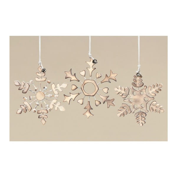 Zestaw 3 dekoracyjnych płatków śniegu Gold Snowflake