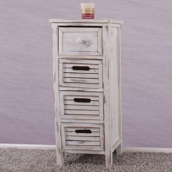Biała komoda/szafka nocna z 4 szufladami Mendler Shabby