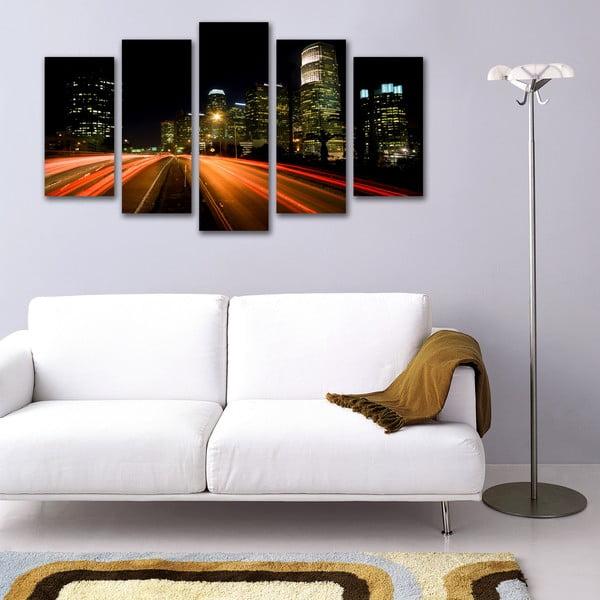 Pięcioczęściowy obraz Ulica Nocą