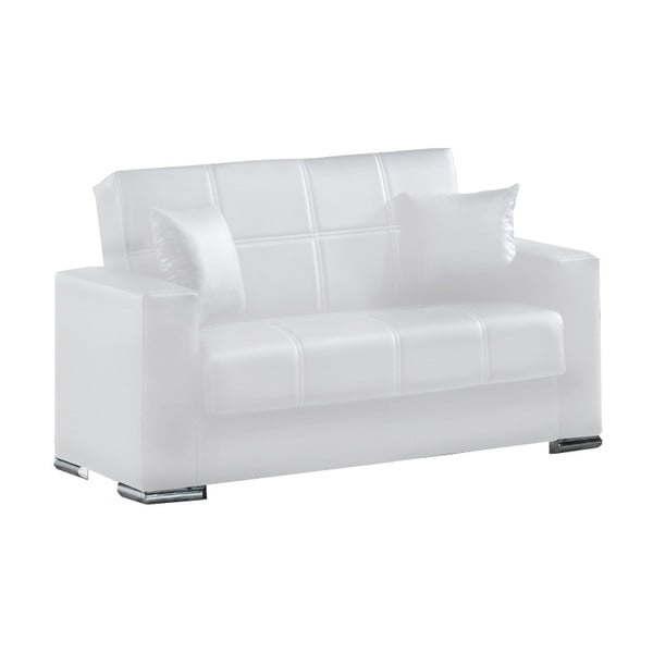 Biała dwuosobowa sofa rozkładana ze schowkiem Esidra Soft