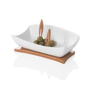 Miska do serwowania na drewnianej podkładce z 2 wykałaczkami Brandani Coupelle