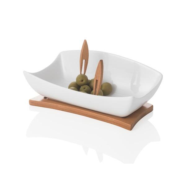 Miska do serwowania na drewnianej podkładce i 2 wykałaczkami Brandani Coupelle