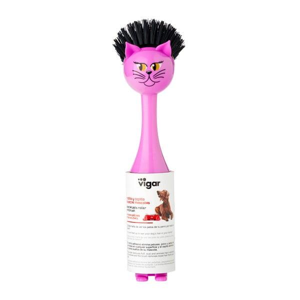 Różowa szczotka do naczyń Vigar Vincent Cat