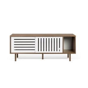 Stolik pod TV w kolorze orzecha z białymi elementami TemaHome Dann Stripes, dł. 165cm