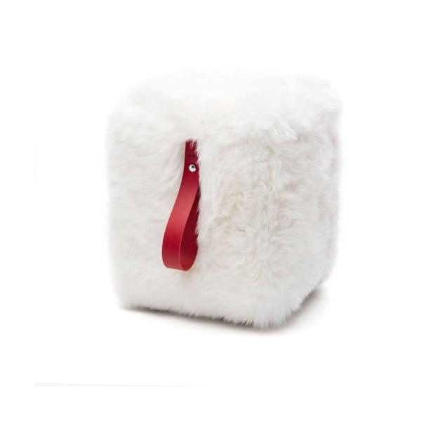 Biało-czerwony puf graniasty Royal Dream
