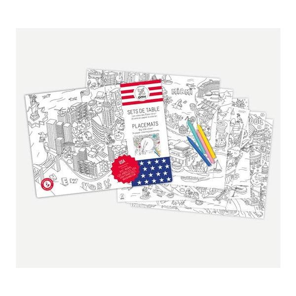 Mata stołowa - kolorowanka dla dzieci OMY United States, 24 szt.