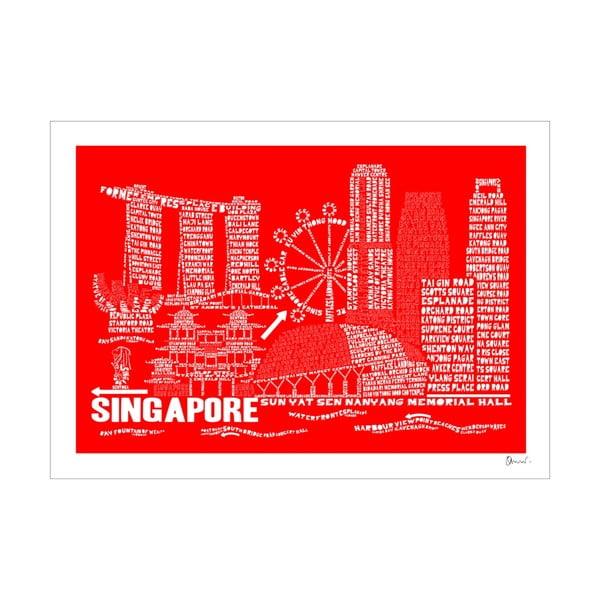 Plakat Singapore Red&White, 50x70 cm