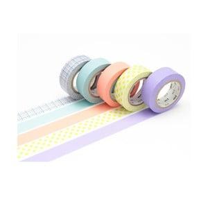 Zestaw 5 taśm dekoracyjnych washi Pastel