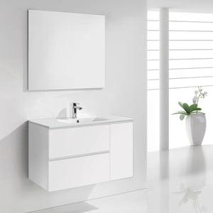 Szafka do łazienki z umywalką i lustrem Happy, odcień bieli, 80 cm