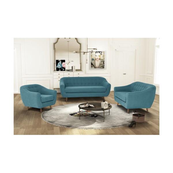 Turkusowy zestaw fotela i 2 sof dwuosobowej i trzyosobowej Jalouse Maison Vicky
