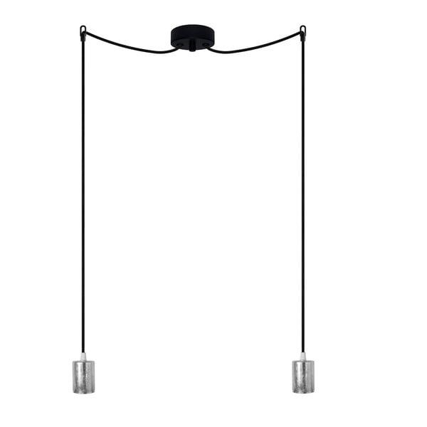 Lampa wisząca podwójna Cero, srebrny/czarny/czarny