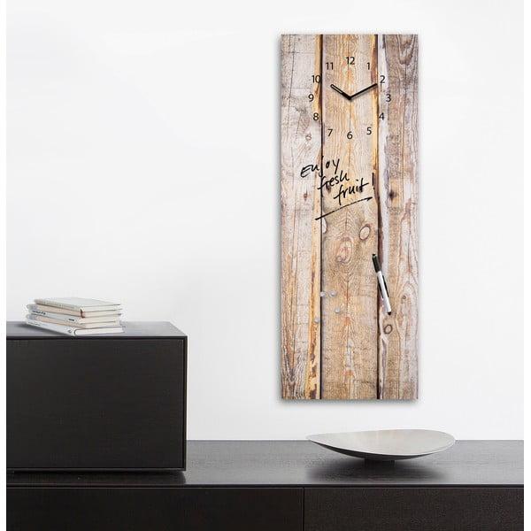 Tablica magnetyczna z zegarem Eurographic Timber, 30x80 cm