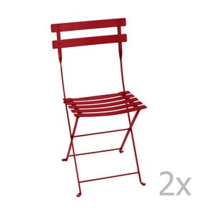 Zestaw 2 czerwonych krzeseł składanych Fermob Bistro