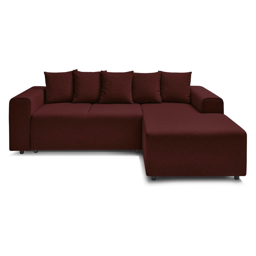 Bordowa rozkładana sofa Bobochic Paris FARO, prawostronna