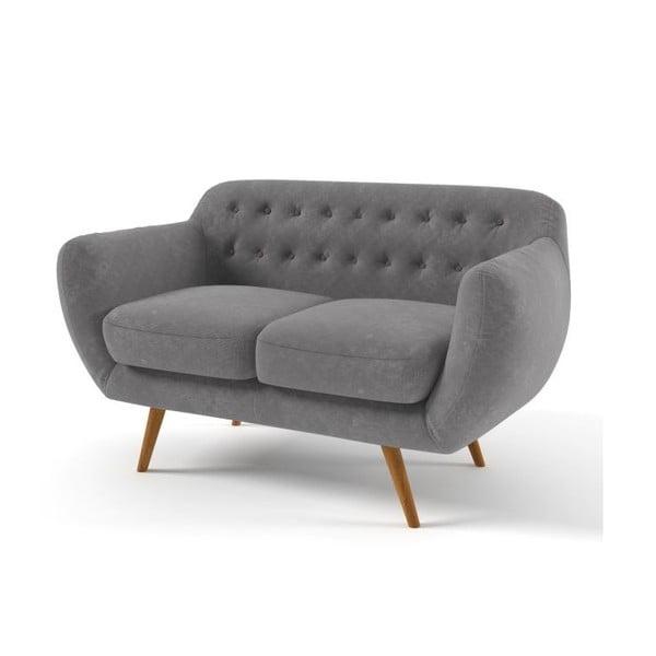 Ciemnoszara   sofa dwuosobowa z fioletowymi guzikami Wintech Indigo
