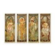 """Zestaw 4 obrazów """"Times of The Day"""" (Alfons Mucha), 40x100 cm"""