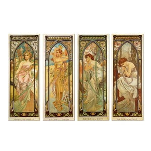 """Zestaw 4 obrazów """"Times of The Day"""" (Alfons Mucha), 30x80 cm"""