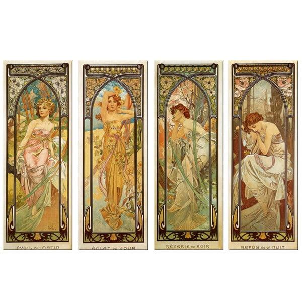 """Zestaw 4 obrazów """"Times of The Day"""" (Alfons Mucha), 45x120 cm"""