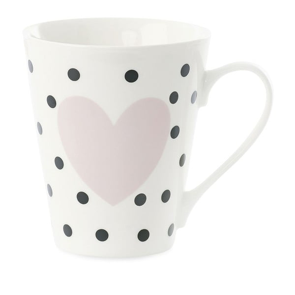 Kubek porcelanowy Coffee Black Dots and Rose Heart