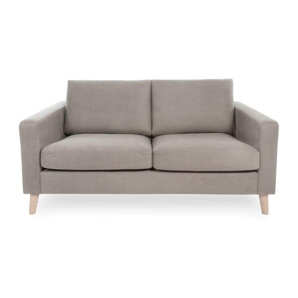 Jasnoszara sofa 2-osobowa z jasnymi nogami Vivonita Tom