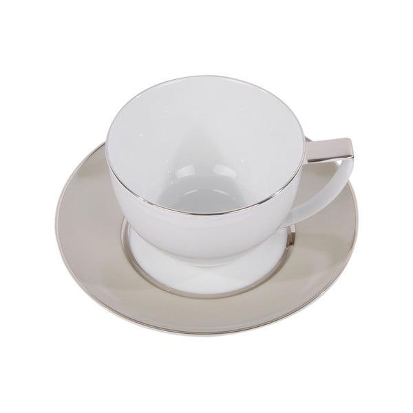 Komplet 6 filiżanek na herbatę, ze spodkiem, Ramponi Pearl Gray