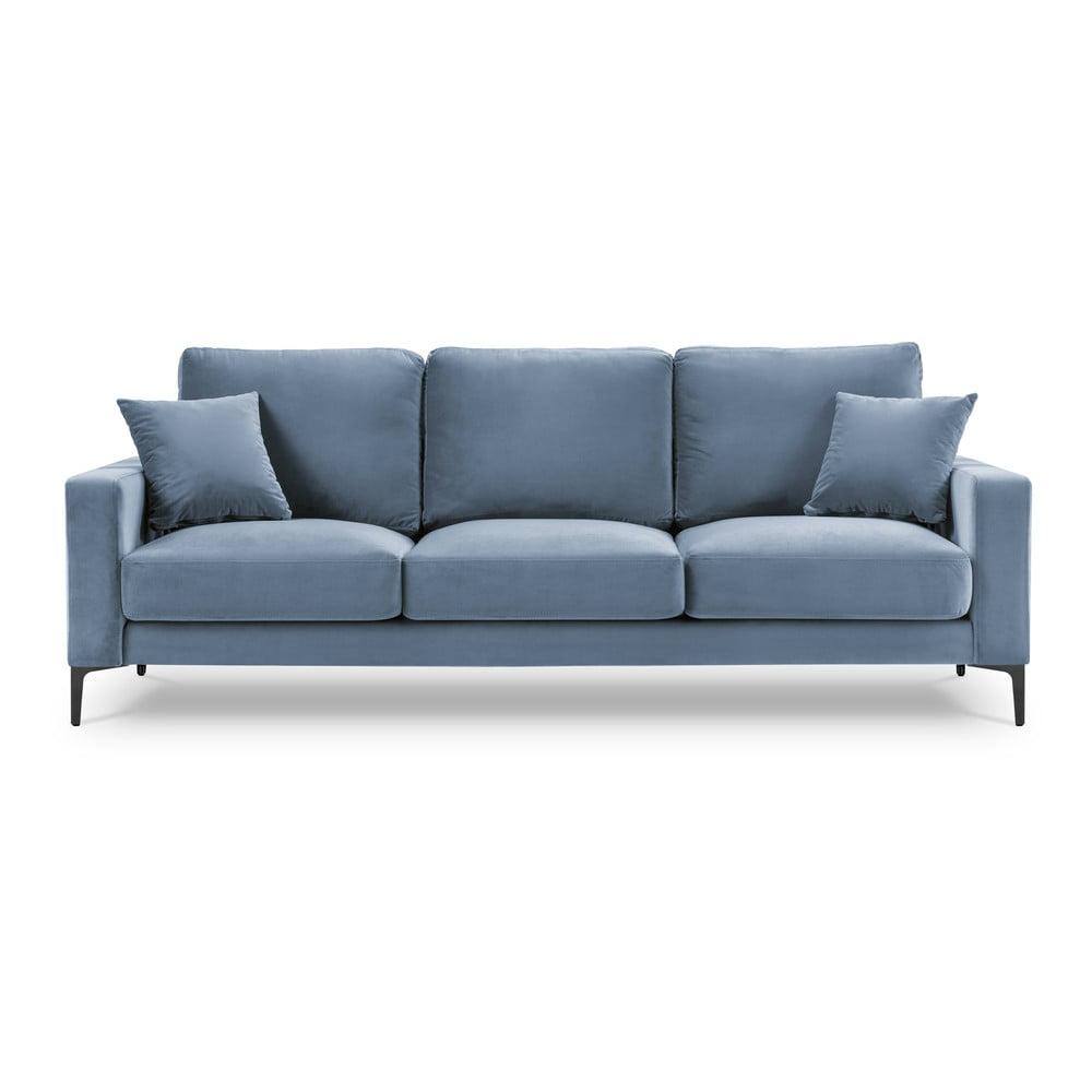 Jasnoniebieska aksamitna sofa Kooko Home Harmony, 220 cm