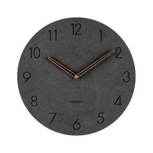 Černé nástěnné dřevěné hodiny Karlsson Dura, ⌀29 cm
