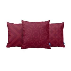 Zestaw 3 poduszek Red On Red, 43x43 cm
