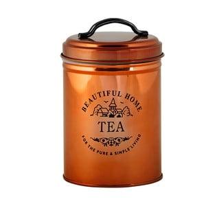 Pojemnik na herbatę w miedzianym kolorze