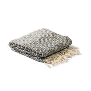 Szary ręcznik hammam Spa Time Dot, 95x180cm