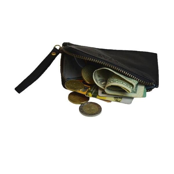 Skórzana portmonetka Coin, czarna