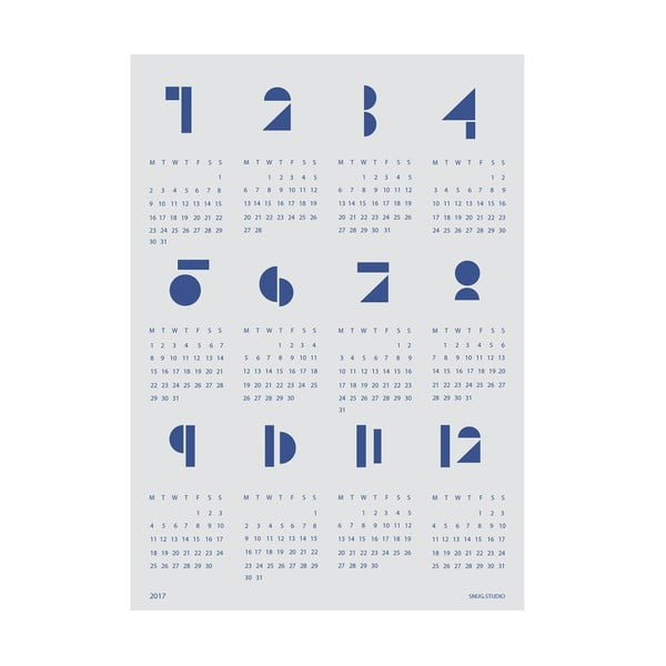 Kalendarz ścienny SNUG.Toy Blocks 2017, niebieski