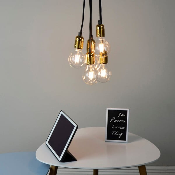 Lampa wisząca z 5 czarnymi kablami i oprawą żarówki w kolorze złota Bulb Attack Uno Unit