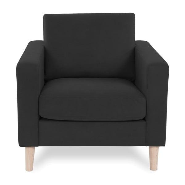 Antracytowy fotel z jasnymi nogami Vivonita Tom