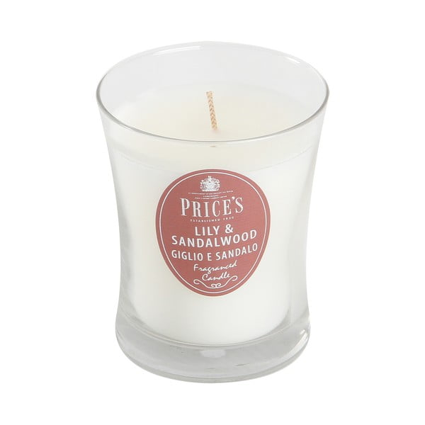 Świeczka zapachowa Prices, lilia i drewno sandałowe, 45 godz.