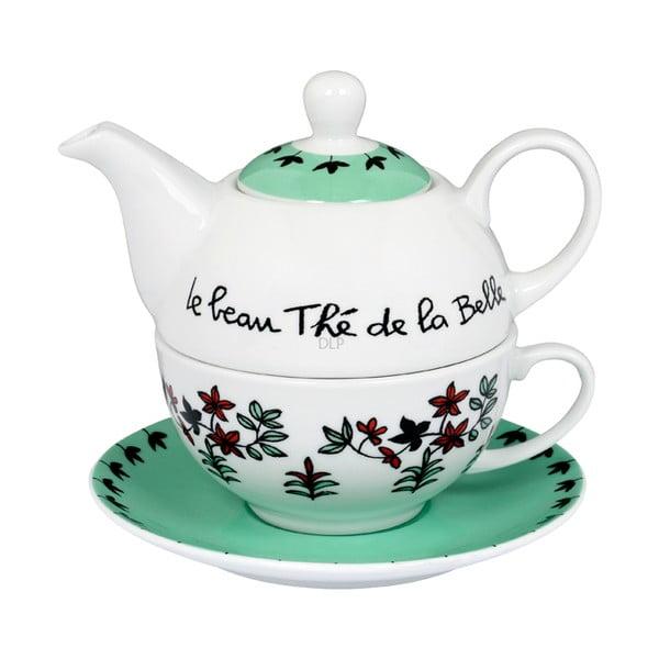Zestaw do herbaty Belle, vert/blanc