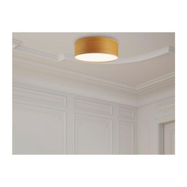 Jasnobrązowa lampa sufitowa z naturalnego forniru Bulb Attack Ocho,⌀30cm