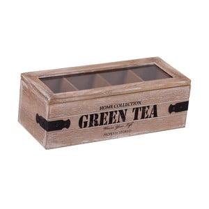 Pudełko drewniane z 4 przegródkami na herbatę Green Tea