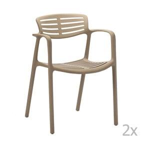 Zestaw 2 beżowych krzeseł ogrodowych z podłokietnikami Resol Toledo Aire