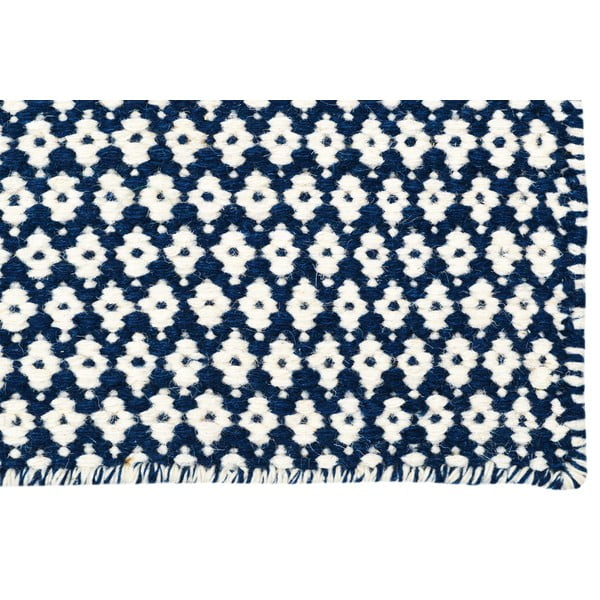 Ręcznie tkany kilim Blue and White Kilim, 110x154 cm