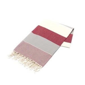 Czerwony ręcznik Hammam Amerikan, 100x180cm