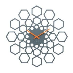 Ciemnoszary zegar ścienny Karlsson Sunshine Hexagon