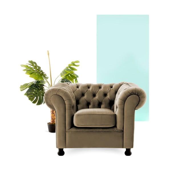 Szaro-beżowy fotel Vivonita Chesterfield