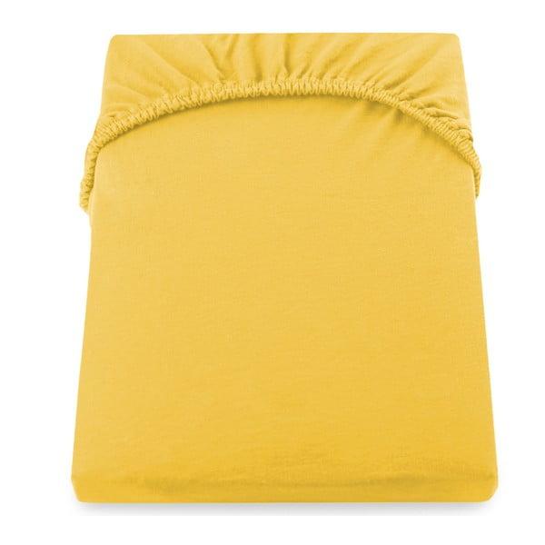Żółte prześcieradło DecoKing Amber Collection, 80-90x200 cm