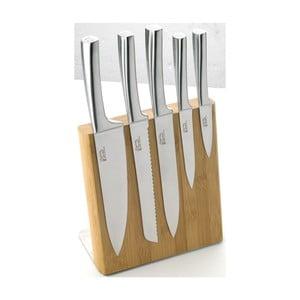 Komplet 5 noży z magnetycznym stojakiem Jean Dubost Meteor Bamboo