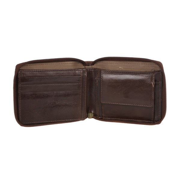 Męski portfel skórzany Kingsbury' Dark Brown/Chestnut Zip-Round Wallet